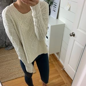 AE Textured Cable Knit Crewneck Pullover
